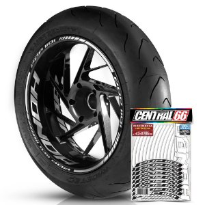 Adesivo Friso de Roda M1 +  Palavra POP 110i + Interno G Honda - Filete Branco