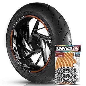 Adesivo Friso de Roda M1 +  Palavra ATV 100 + Interno G Adly - Filete Laranja Refletivo