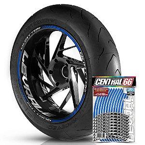 Adesivo Friso de Roda M1 +  Palavra Quattor + Interno G Lavrale - Filete Azul Refletivo