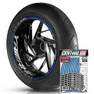 Adesivo Friso de Roda M1 +  Palavra TT-R 230 + Interno G Yamaha - Filete Azul Refletivo
