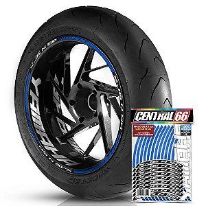 Adesivo Friso de Roda M1 +  Palavra XJ6 N SP + Interno G Yamaha - Filete Azul Refletivo