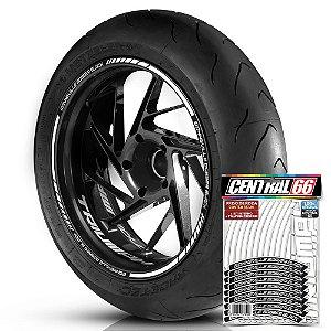 Adesivo Friso de Roda M1 +  Palavra BONNEVILLE BOBBER BLACK + Interno P Triumph - Filete Branco