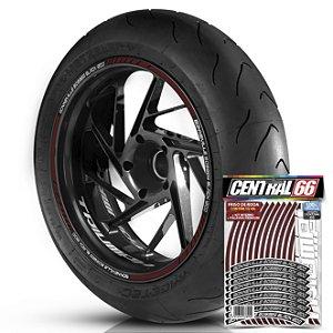 Adesivo Friso de Roda M1 +  Palavra BONNEVILLE BOBBER BLACK 1200 + Interno P Triumph - Filete Vinho