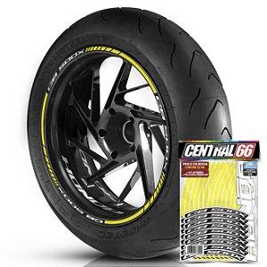 Adesivo Friso de Roda M1 +  Palavra CB 500 X + Interno P Honda - Filete Amarelo