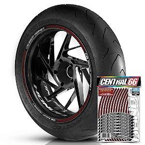 Adesivo Friso de Roda M1 +  Palavra CB 600F HORNET + Interno P Honda - Filete Vinho