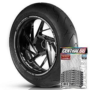 Adesivo Friso de Roda M1 +  Palavra CB 600F HORNET + Interno P Honda - Filete Prata Refletivo