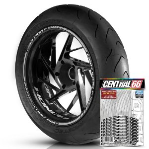 Adesivo Friso de Roda M1 +  Palavra CBR 1000 F + Interno P Honda - Filete Prata Refletivo