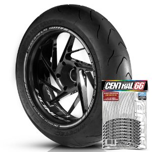 Adesivo Friso de Roda M1 +  Palavra CBR 1000 RR FIRE BLADE + Interno P Honda - Filete Prata Refletivo
