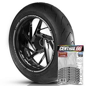 Adesivo Friso de Roda M1 +  Palavra CBR 250 R + Interno P Honda - Filete Prata Refletivo