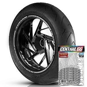 Adesivo Friso de Roda M1 +  Palavra CBR SUPER BLACKBIRD + Interno P Honda - Filete Prata Refletivo