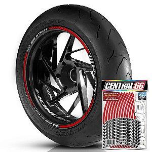 Adesivo Friso de Roda M1 +  Palavra CG 160 START + Interno P Honda - Filete Vermelho Refletivo