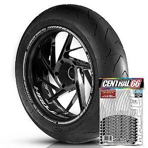 Adesivo Friso de Roda M1 +  Palavra CHOPPER ROAD 150 + Interno P Haojue - Filete Prata Refletivo