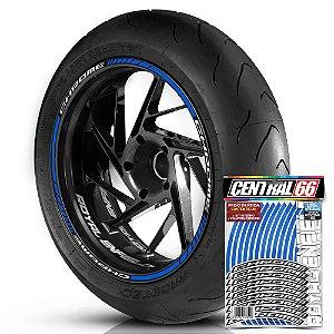 Adesivo Friso de Roda M1 +  Palavra CHROME + Interno P Royal Enfield - Filete Azul Refletivo