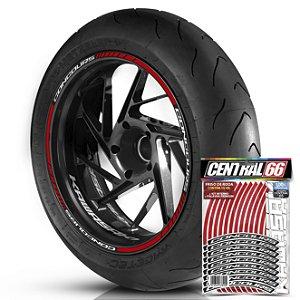 Adesivo Friso de Roda M1 +  Palavra CONCOURS + Interno P Kawasaki - Filete Vermelho Refletivo