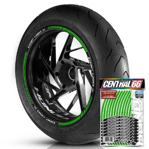 Adesivo Friso de Roda M1 +  Palavra CRF 450 X + Interno P Honda - Filete Verde Refletivo