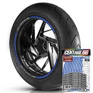 Adesivo Friso de Roda M1 +  Palavra DAYTONA 675 R + Interno P Triumph - Filete Azul Refletivo