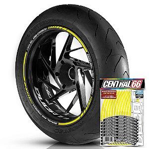 Adesivo Friso de Roda M1 +  Palavra DIAVEL 1198 CARBON + Interno P Ducati - Filete Amarelo
