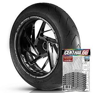 Adesivo Friso de Roda M1 +  Palavra DIAVEL 1198 CARBON + Interno P Ducati - Filete Prata Refletivo