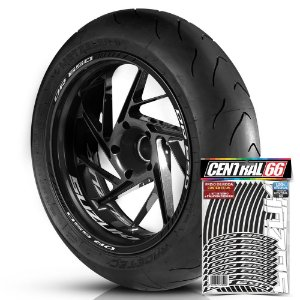 Adesivo Friso de Roda M1 +  Palavra DR 650 + Interno P Suzuki - Filete Preto