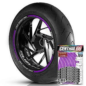 Adesivo Friso de Roda M1 +  Palavra DR 650 RE + Interno P Suzuki - Filete Roxo
