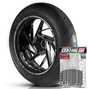 Adesivo Friso de Roda M1 +  Palavra DUCATI 848 + Interno P Ducati - Filete Prata Refletivo