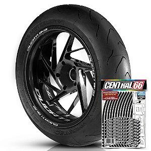Adesivo Friso de Roda M1 +  Palavra DUCATI 848 + Interno P Ducati - Filete Preto