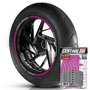 Adesivo Friso de Roda M1 +  Palavra GSR 125S + Interno P Suzuki - Filete Rosa