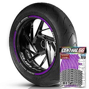 Adesivo Friso de Roda M1 +  Palavra GSR 125S + Interno P Suzuki - Filete Roxo