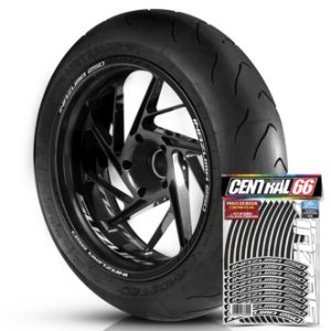 Adesivo Friso de Roda M1 +  Palavra INAZUMA 250 + Interno P Suzuki - Filete Preto