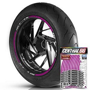 Adesivo Friso de Roda M1 +  Palavra MT 01 + Interno P Yamaha - Filete Rosa