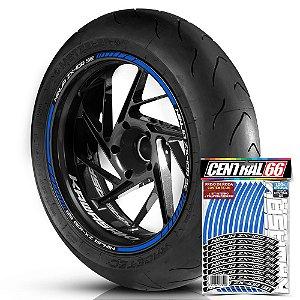 Adesivo Friso de Roda M1 +  Palavra NINJA ZX-10R SE + Interno P Kawasaki - Filete Azul Refletivo