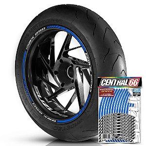 Adesivo Friso de Roda M1 +  Palavra RMX 250 + Interno P Suzuki - Filete Azul Refletivo