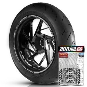Adesivo Friso de Roda M1 +  Palavra SH 150i + Interno P Honda - Filete Prata Refletivo
