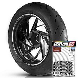 Adesivo Friso de Roda M1 +  Palavra STREET TRIPLE 675 R + Interno P Triumph - Filete Branco