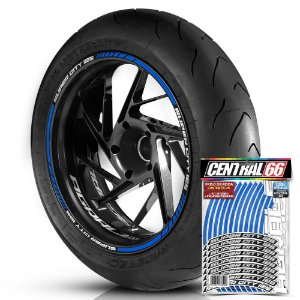 Adesivo Friso de Roda M1 +  Palavra SUPER CITY 125 + Interno P Agrale - Filete Azul Refletivo