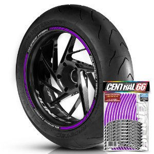 Adesivo Friso de Roda M1 +  Palavra SUPER HAWK + Interno P Honda - Filete Roxo