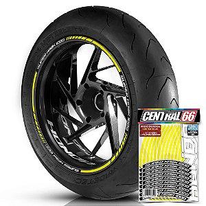 Adesivo Friso de Roda M1 +  Palavra SUPER HAWK 1000 + Interno P Honda - Filete Amarelo