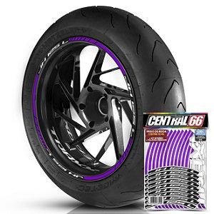 Adesivo Friso de Roda M1 +  Palavra Traxx JH 125 L + Interno P TRAXX - Filete Roxo