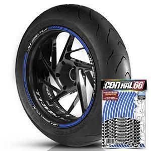 Adesivo Friso de Roda M1 +  Palavra Traxx JH 250 FLY + Interno P TRAXX - Filete Azul Refletivo