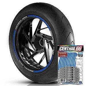 Adesivo Friso de Roda M1 +  Palavra Traxx WORK 125 + Interno P TRAXX - Filete Azul Refletivo