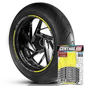 Adesivo Friso de Roda M1 +  Palavra V11 SPORT + Interno P Moto Guzzi - Filete Amarelo
