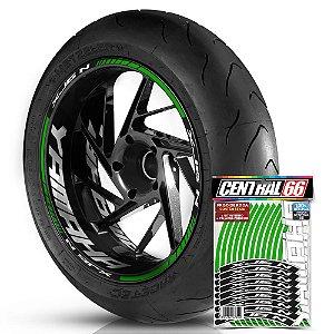 Adesivo Friso de Roda M1 +  Palavra XJ6 N + Interno G Yamaha - Filete Verde Refletivo