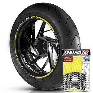 Adesivo Friso de Roda M1 +  Palavra VESPA GTS + Interno P Piaggio - Filete Amarelo