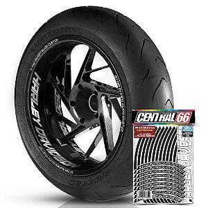 Adesivo Friso de Roda M1 +  Palavra SYNA SUPER GLIDE CUSTOM + Interno G Harley Davidson - Filete Preto