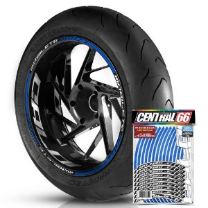 Adesivo Friso de Roda M1 +  Palavra MOBILETE + Interno G Caloi - Filete Azul Refletivo