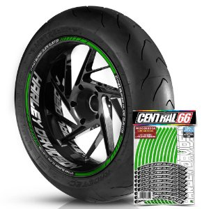 Adesivo Friso de Roda M1 +  Palavra DYNA SUPER GLIDE CUSTOM + Interno G Harley Davidson - Filete Verde Refletivo