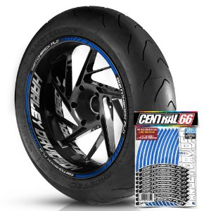 Adesivo Friso de Roda M1 +  Palavra SWITCHBACK FLD + Interno G Harley Davidson - Filete Azul Refletivo