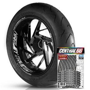 Adesivo Friso de Roda M1 +  Palavra SWITCHBACK FLD + Interno G Harley Davidson - Filete Preto