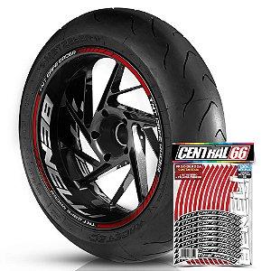 Adesivo Friso de Roda M1 +  Palavra TNT CAFE RACER + Interno G Benelli - Filete Vermelho Refletivo