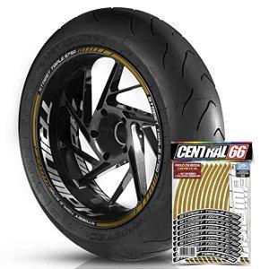 Adesivo Friso de Roda M1 +  Palavra STREET TRIPLE 675 R + Interno G Triumph - Filete Dourado Refletivo